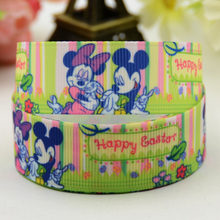 7/8'' (22mm) Mickey Easter Cartoon Character printed Grosgrain Ribbon party decoration satin ribbons X-01237 OEM 10 Yards(China)