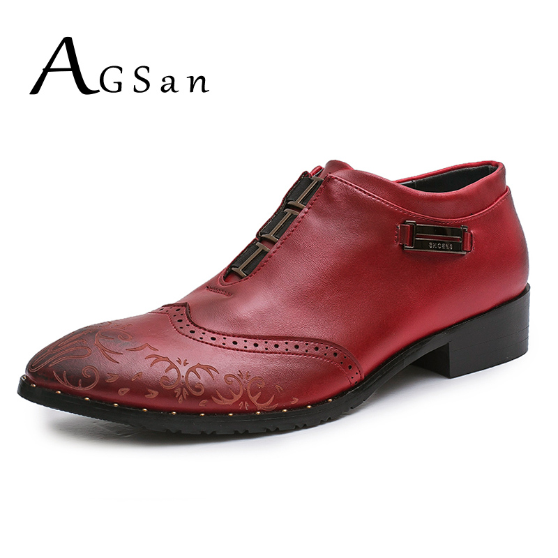 AGSan Italian Designer Burgundy Black Brown Brogue Shoes Genuine Leather Men Formal Dress Oxfords Party Office Wedding Shoes<br>