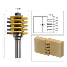 "5 Blade 3 Flute 1/2"" Shank Box Joint Router Bit Adjustable Woodworking Cutter"