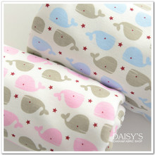 Stretchy printing Whales baby cotton fabric Baby knitted jersey cotton fabric For baby bibs clothes material 50*170cm