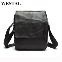 WESTAL Genuine Leather Men Bags Fashion Man Leather Bag Crossbody Shoulder Handbags Men's Messenger Bags Male Small Bag 9108