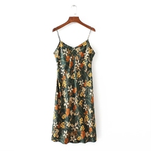 Fashion Women Flower printing Side zipper Sling Dresses Work Casual Elegant Sleeveless Dress Womens Clothing D696
