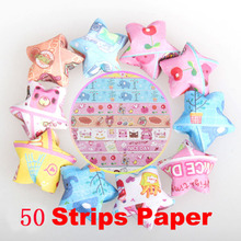 50 PCS Fashion Folding Kit Lucky Star Origami Wish Star Origami Paper Strips Paper Crafts Art Tools DIY Handmade Origami Paper