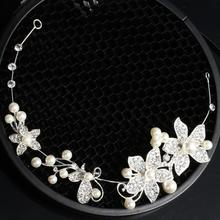 1 pc Wedding Bridal Party Pearl Diamante Love Flower Tiara women romantic Headband Head Hair Bands Headress Headwear Accessories