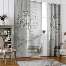 Linen cotton luxury home decor fabric curtains gray tree rideaux for living room bedroom custom made children curtain drapes