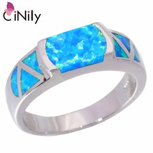 CiNily Created Blue Fire Opal Silver Plated Ring Wholesale Retail Hot Sell Fashion Gift for Women Jewelry Ring Size 5-11 OJ4111