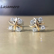 LASAMERO 0.26CTW Cluster Earrings 18K White Gold Flower Natural Diamond Stud Earrings Fine Jewelry Earring Studs(China)
