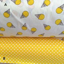 160cm*50cm yellow Ice cream cone cotton cloth sewing baby bedding diy quilt linens pillow curtain patchwork fabric sewing tissue