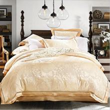 Jacquard Satin bedding sets king queen size 4/6pcs Gold Tribute Silk quilt cover set bed sheet pillowcases cotton home textile