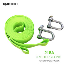 5.0M Green Fluorescent Nylon Emergency Towing Ropes Recovery Tow Strap rope Capacity Heavy Duty Towing Ropes KODOOT 218A(China)