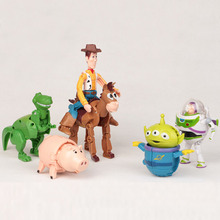 2017 New Styles Cartoon Toy Story Woody Buzz Lightyear Hamm Rex Alien PVC Action Figures Doll Toys For Kids Gifts