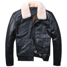 2018 Black Men USAF Pilot Leather Jacket Wool Collar Europe Size XXL Real Sheepskin Russian Aviator Leather Coat FREE SHIPPING(China)