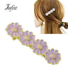 Jufee Cute Lovely Style Gold-Color With White Purple Enamel Flower Shape Hairgrips Barrettes Hairwear Hair Accessories For Women