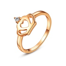 New Design Exquisite Princess Queen Rose Gold Color Crown Ring Crown Women Crystal Ring Fashion Jewelry for Party Wedding bague