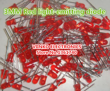 Free shipping 1000pcs Red LED 3MM Red light-emitting diode Red turn Red(China)