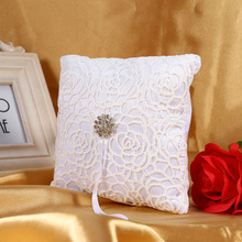 White Flower Lace Square Pillow Cushion With Diamond Romantic Wedding Ring Pillow Cushion Party Home Mariage Decoration 15x15cm