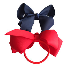 6 pcs 4 inch Hair bow WITH Elastic Band Ponytail Hair Holder Kids Girl head accessories Elastic Loop Bobble School Dancing bows(China)