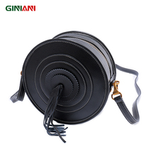 GINIANI Guaranteed 100% Genuine Leather Women's Retro Drum Shoulder Bag Ladies Tassel Shooting Target Round Small Crossbody Bags(China)