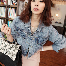 female long-sleeve outerwear short design jacket denim top slim women coat