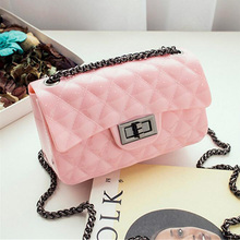New chain women Handbag Lingge women Small messenger shoulder Bag Mini silicone candy color Female crossbody jelly bags baobao