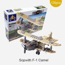 Kazi Century Military Sopwith F-1 Camel World War 1 Fighter Plane Building Block 3D Model Toy UK Royal Air Force Toy for kid