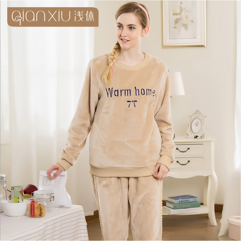 2019 Autumn Home Pijamas Women Casual embroid Pajama sets Female Warm Flannel Sleepwear suit Female O-neck Collar t shirt +pants
