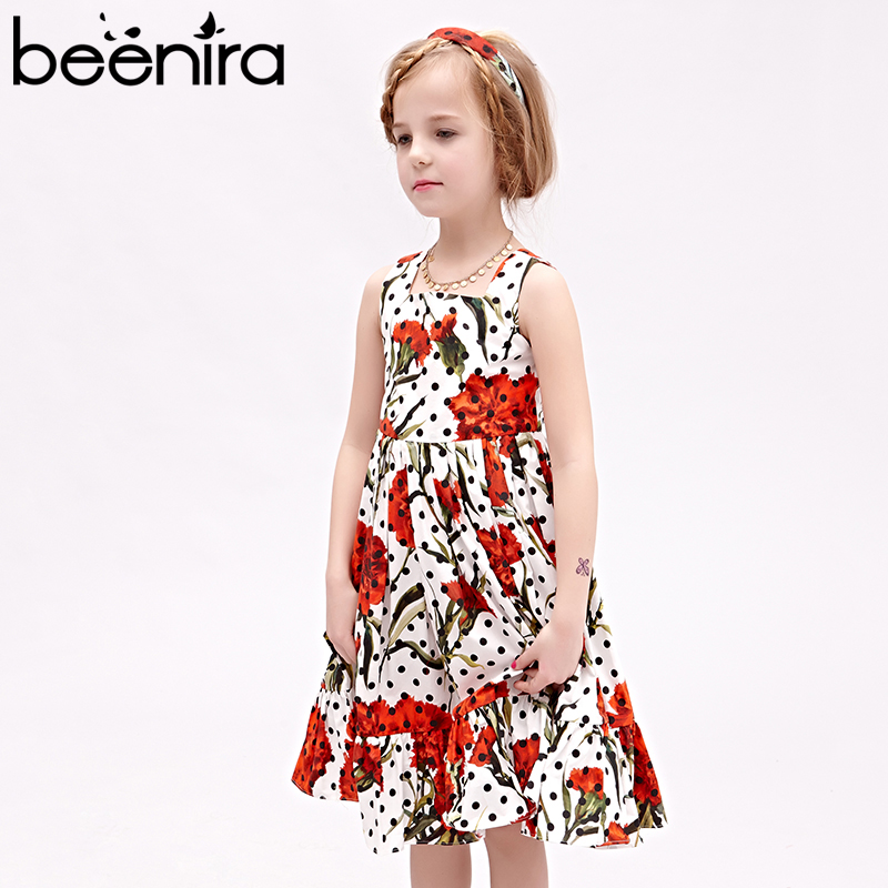 Beenira 2017 Eupopean And American Style Children Flowers Pattern Black Dots Princess Dress Design 4-14Y Kids Girls Summer Dress<br>