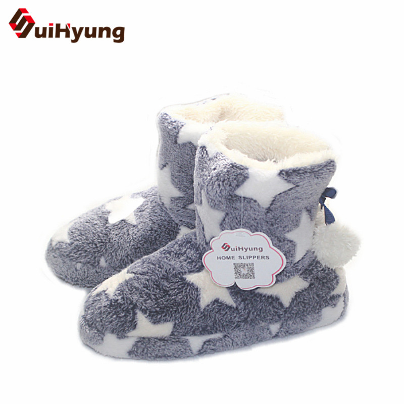 SuiHyung Women's Winter New Low-cut Cotton Boots Stars Pattern Hairball Home Indoor Shoes Plush Warm Soft Non-slip Floor Shoes