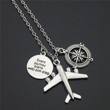 "1pc""Every Journey Starts With One Step"" Words Compass Airplane Necklace Jewelry Gift Flight Pilot Travel Necklace E1022"