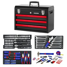 WORKPRO 408PCS Mechanic Tool Set Professional Tool Kit Screwdrivers Knives Sockets Pliers Hammers Metal Tool Box