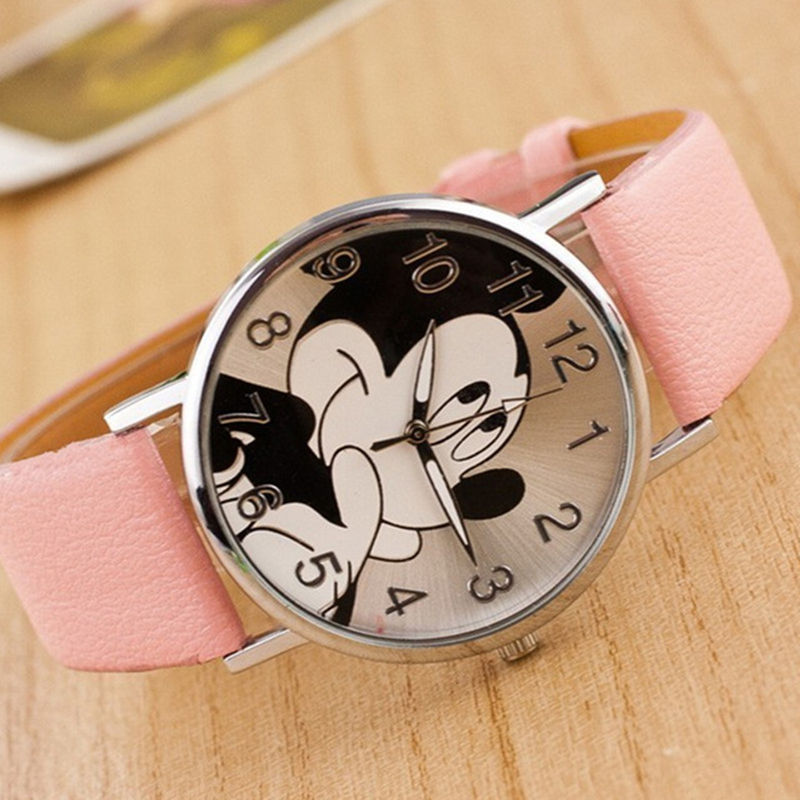 Fashion minnie women watch boy girl cartoon watches Unisex quartz watch student Famale imitation PU leather holiday gifts reloj(China)