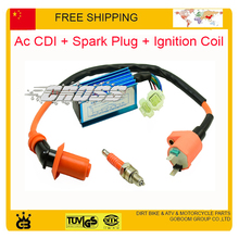 125cc 150cc 250cc GY6 scooter CDI igintion coil Performance 6 pin Racing ac CDI Box +Ignition Coil + spark plug For GY6 Scooter