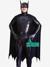 Free Shipping DHL Newest Black Batman Shiny Costum For Men Halloween Batman Cosplay Costume Superhero Costume With Cape XRC224