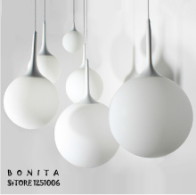 cord pendant lamp Modern minimalist Creative Spherical hanging lights bedroom Milky White Ball pendant lighting glass shades(China)