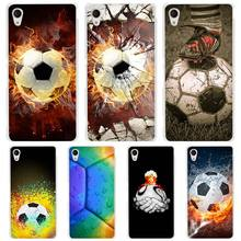 Fire Football Soccer Ball hard Transparent Case Cover Coque for Sony Xperia z1 z2 z3 z4 z5 m4 aqua m5 XA XZ C4 E4 E5 C5