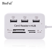 BinFul Multi Micro USB Hub 2.0 OTG Combo USB Splitter SD TF Card Reader Extension Port Hubs WH Cable Adapter For Computer Smart(China)