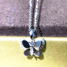 LASAMERO Butterfly Design 0.08ctw Real Diamond Pendant Diamond Accents Pave Set 18k White Gold Natural Diamond Pendant Necklace