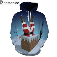 Khastanido 2017 Christmas Funny Santa Claus in Chimney 3d Print Pullover Hooded Hoodies Casual Tops Sweatshirts Women Coats Ropa(China)