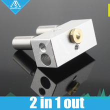 Upgraded For 3D Printer  Multi Color Nozzle 2 in-1 out Cyclops Aluminium Heater Block +2pcs Throat 1.75mm Free shipping