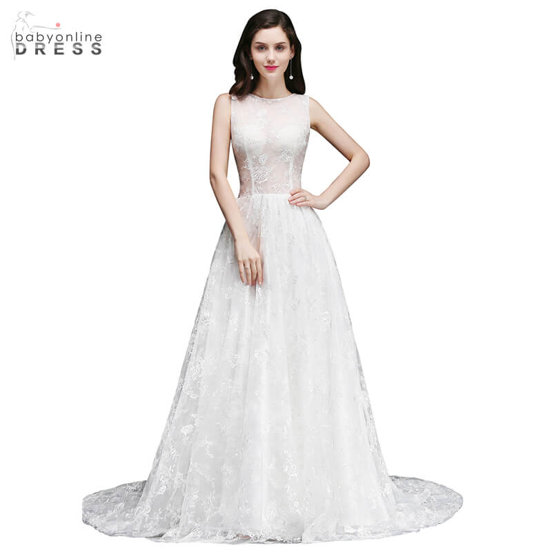 Babyonline Dress O-Neck Sleeveless Court Train Bridal Dress Sexy Illusion A Line Wedding Dresses With Zipper Robe Mariee