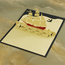 """Sailing Boat"" Handmade Kirigami & Origami 3D Pop UP Greeting Cards For Birthday Gift Postcards Paper laser cut Thank you cards"