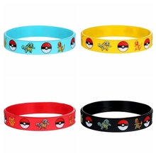Hot ! New Cartoon Pokemon Pikachu Silicone Bracelet Birthday Party Wedding Decoration Kids Toys Gifts Men Women Rubber Bracelets(China)