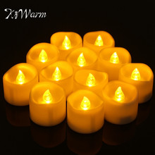 KiWarm Newest 12pcs/set Flameless Votive LED Candles Battery Operated Flickering LED Tea Light Candles Church Home Party Decor