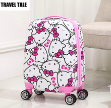 "TRAVEL TALE 16""18 inch hello kitty kids trolley luggage child suitcase on wheels free shipping"