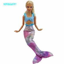 1 Pcs Handmade Fashion Outfit Copy Mermaid Princess Blue Top Colorful Fishtail Dress Clothes For Barbie Doll Accessories Gifts(China)