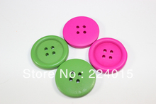 Free Shipping 50pcs/30mm Mixed Color Wood Four Hole Button Beads,Wooden Cabochon Patch Cover For Children's Gift Diy,B1202#(China)