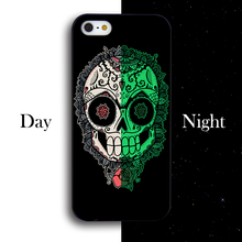 Flowers Crystal Skull Head Phone Cover Case For IPhone 4 4s 5 5s 5c se 6 6s 6plus 6splus cover hard plastic Cover Case