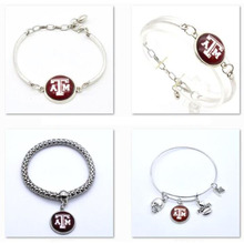 10Pcs/lot Texas A&M Aggies NCAA College Football Bracelet Customized Bracelet Man And Women Fashion Bangle Charms(China)