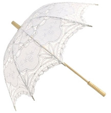 "NEW 25"" White Vintage Lace French Parasol Umbrella Photogragh Event Wedding Party Decorative Tool Umbrella"