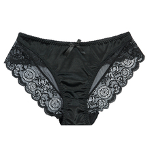 Buy Sexy Satin Lace Panties Women's Underwear Transparent Sheer Lace Briefs Tangas Knickers Soft Shiny Satin Panty M L XL